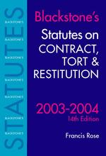 Statutes Contract Tort & Restitution 2003-04 14Ed