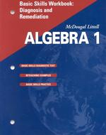 Algebra 1, Grade 9 Basic Skills Workbook Diagnosis and Remediation : Mcdougal Littell High School Math (Workbook)