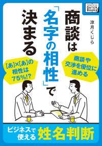 紀伊國屋書店BookWebで買える「商談は「名字の相性」で決まる ?ビジネスで使える姓名判断?」の画像です。価格は540円になります。