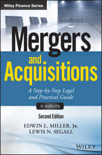 M&A:段階的法実務ガイド(第2版)<br>Mergers and Acquisitions : A Step-by-Step Legal and Practical Guide(2)