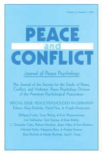 Peace Psychology in Germany : A Special Issue of Peace and Conflict