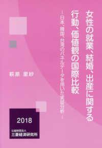 女性の就業、結婚、出産に関する行動、価値観の国際比較 日本、韓国、台湾のパネルデータを用いた実証分析